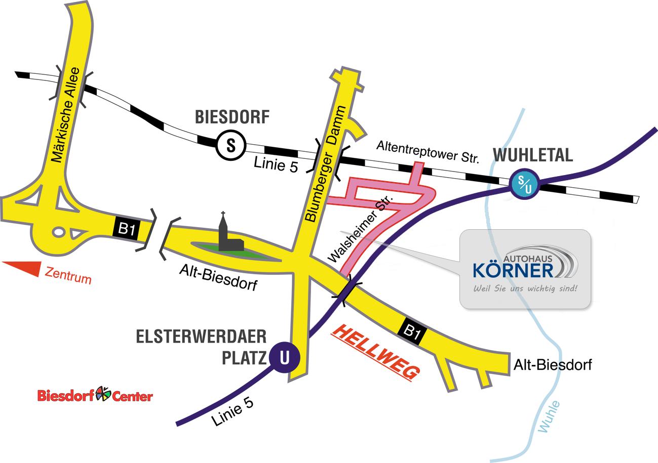 Lageplan Autohaus Körner GmbH